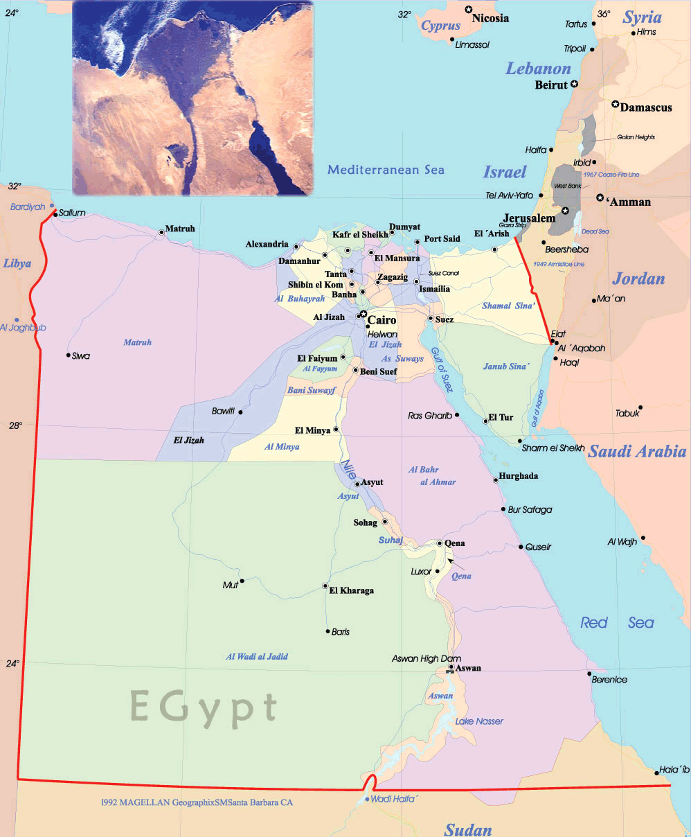 Egypt Political Map large map