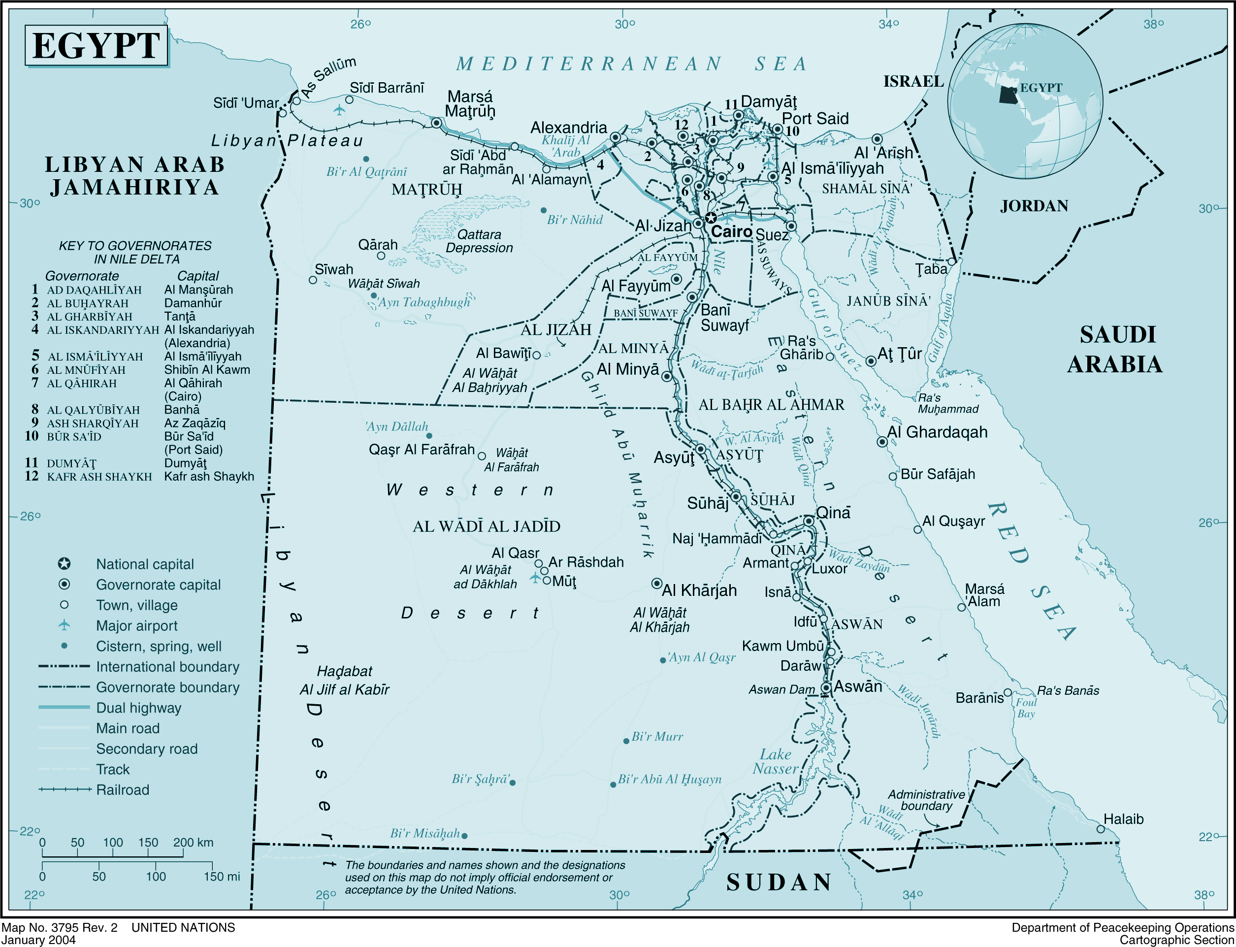 Egypt Political Map 2