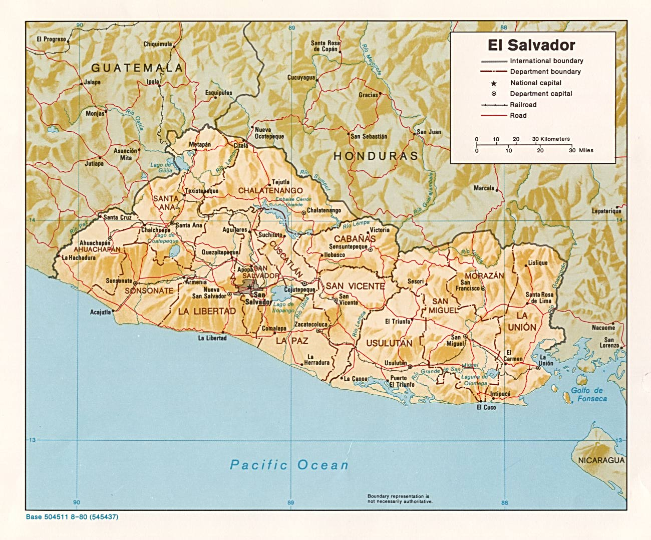 Elsalvador Relief Map 1980