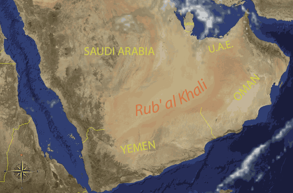 Empty Quarter Arabia large map