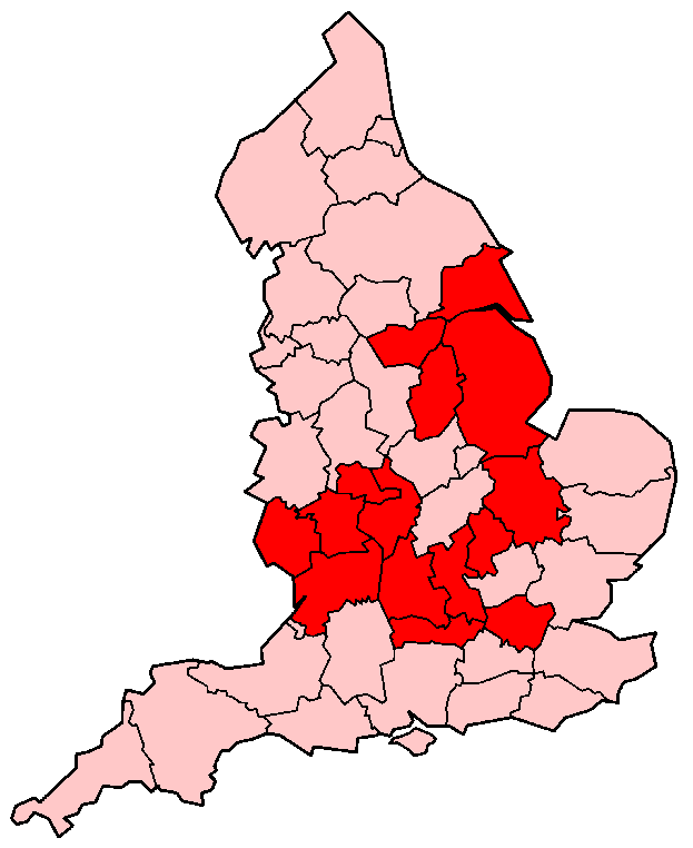 English Counties Flooded In 2007 large map