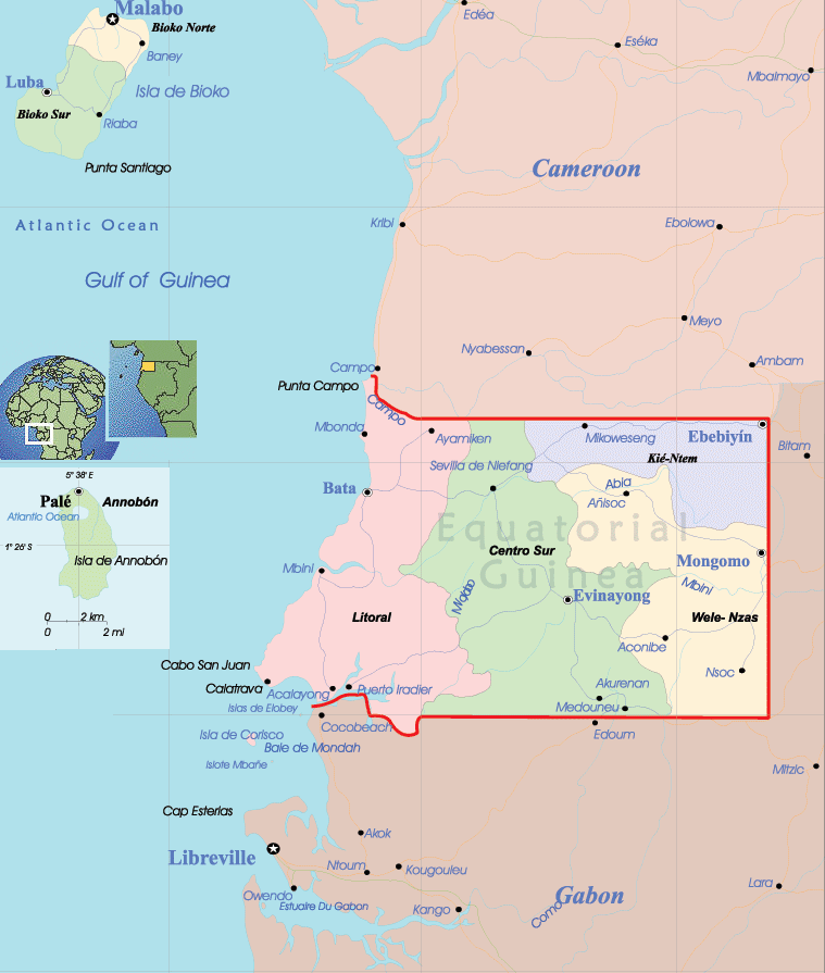 Equatorial Guinea Political Map large map