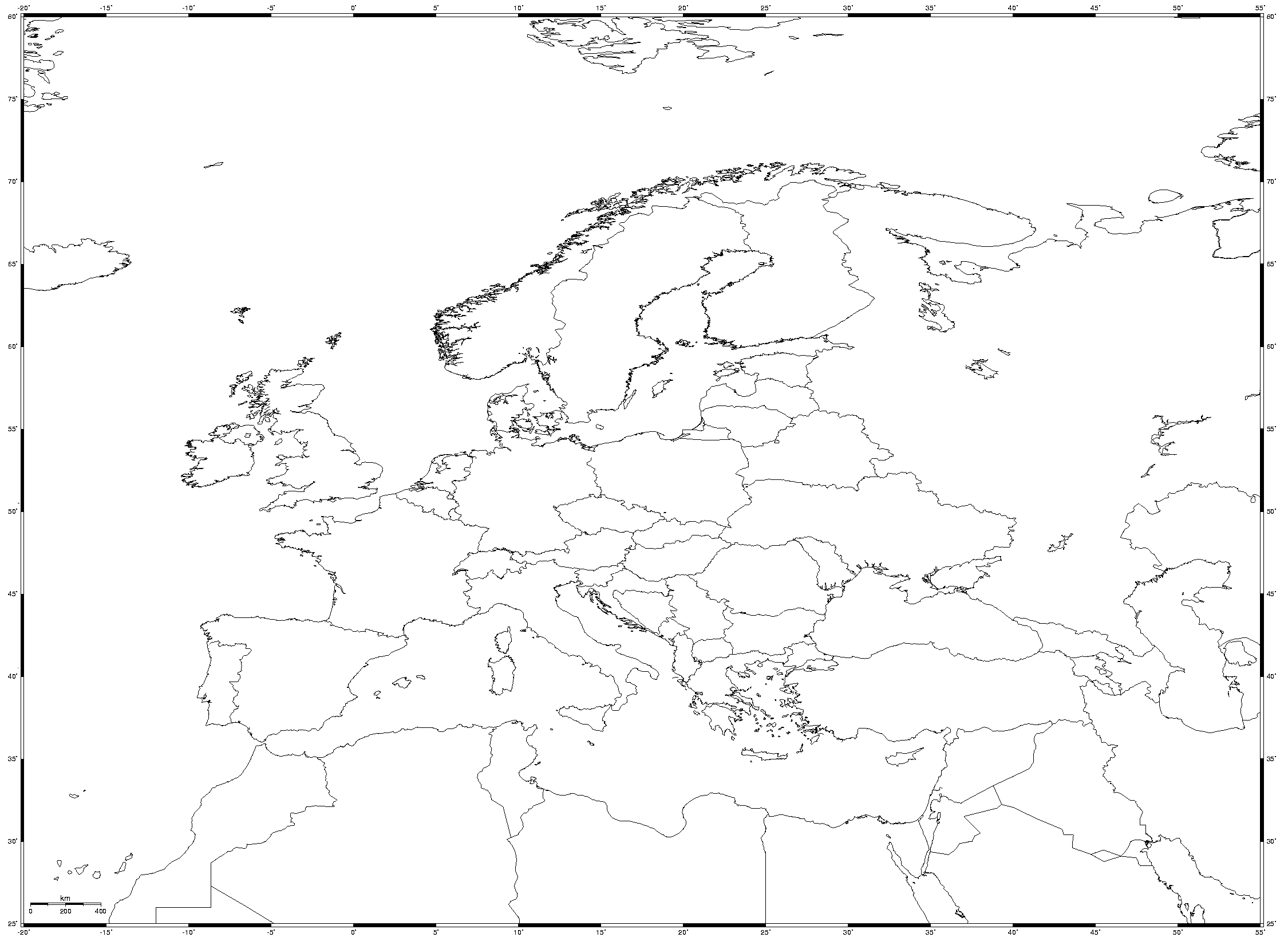 Equidistant Cylindrical Blank Map of Europe  Mapsofnet