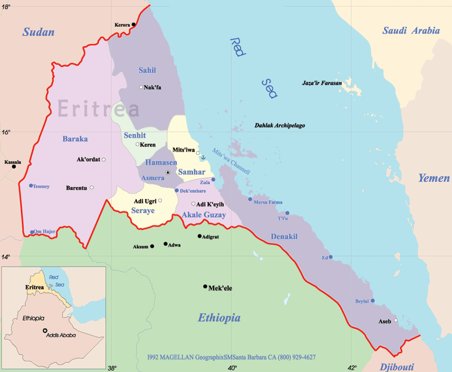 Eritrea Political Map large map