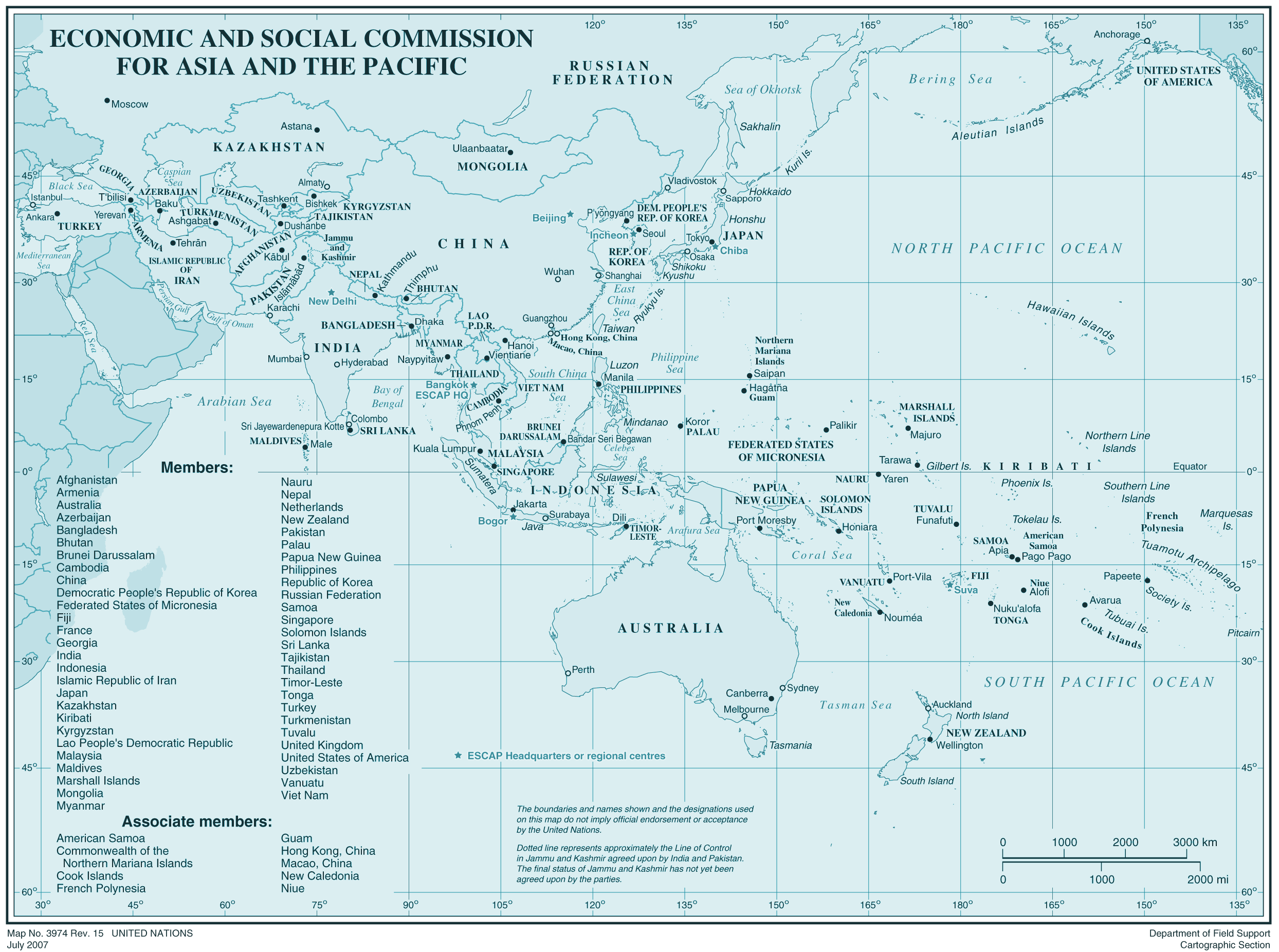 Escap Members large map