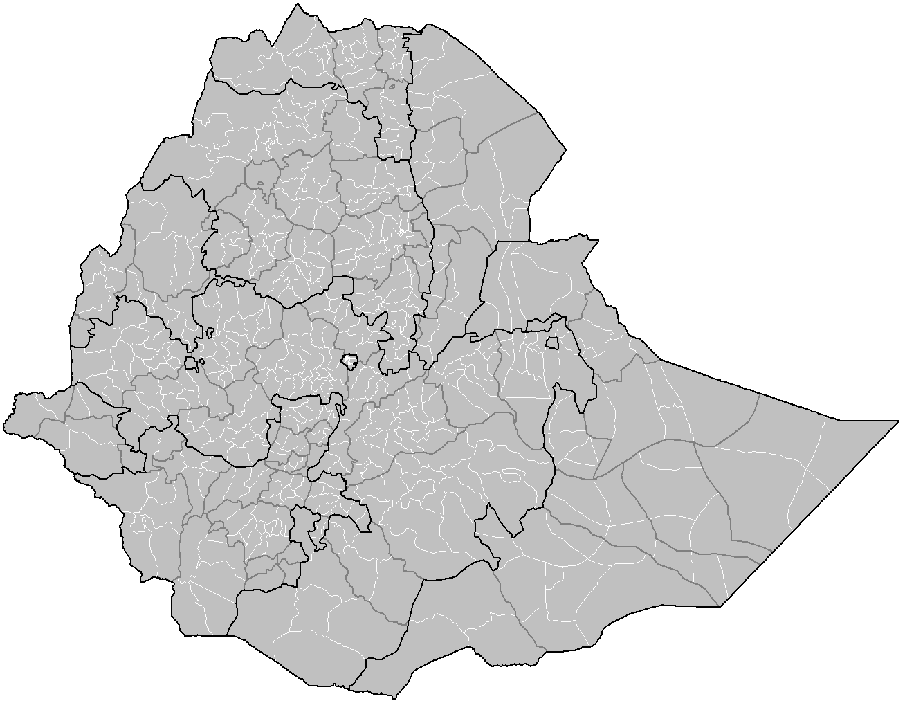 Ethiopia Districts large map
