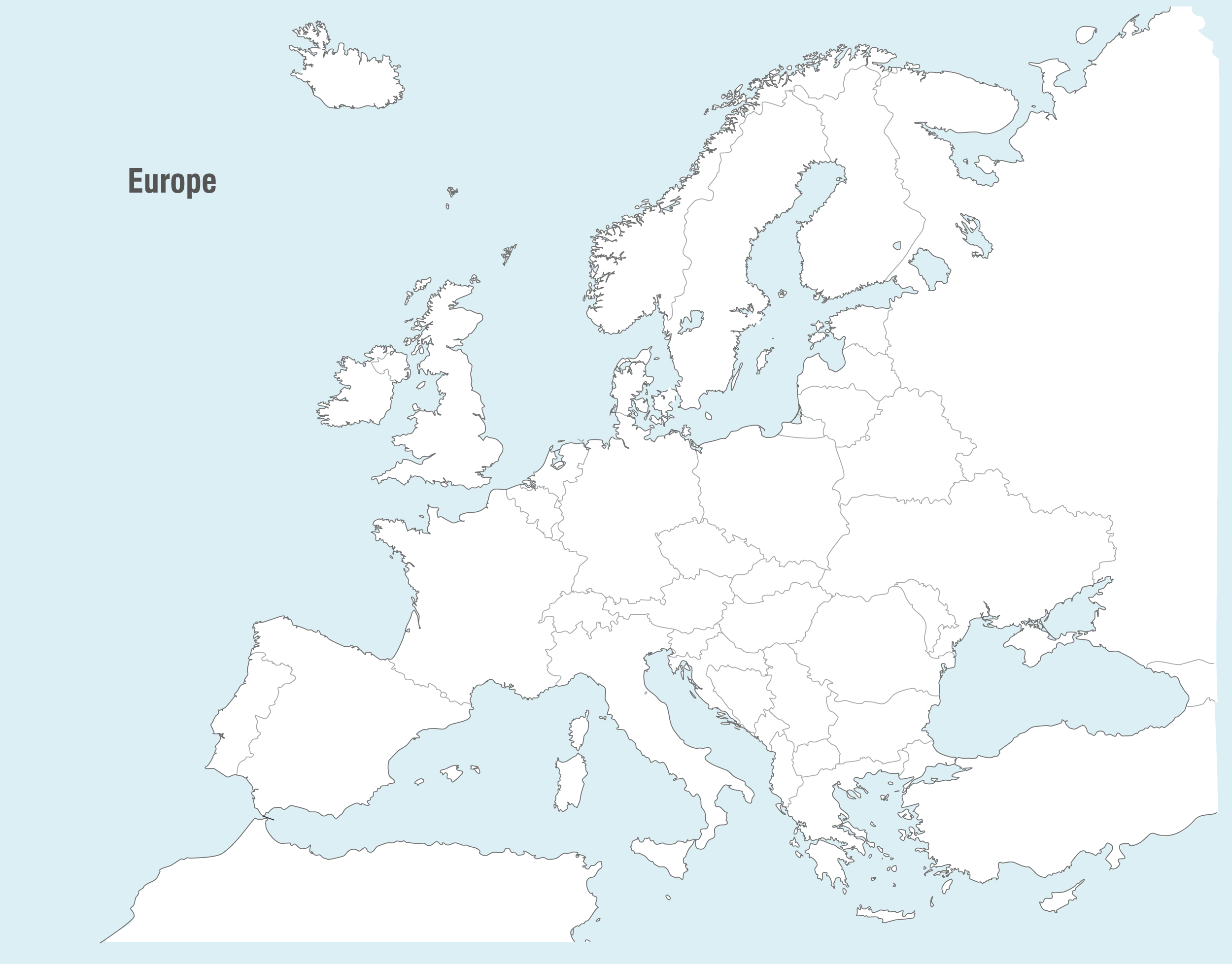 Europe Countries Map Blank large map