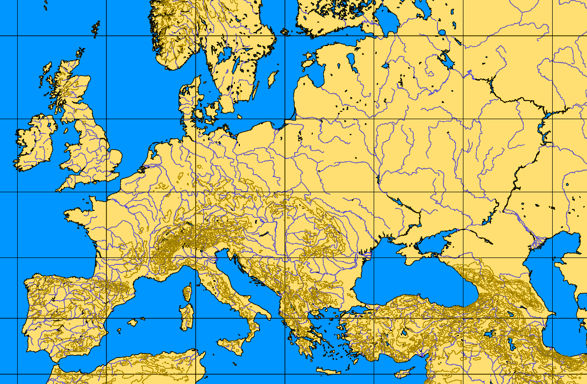 With of mountains Topographical map europe