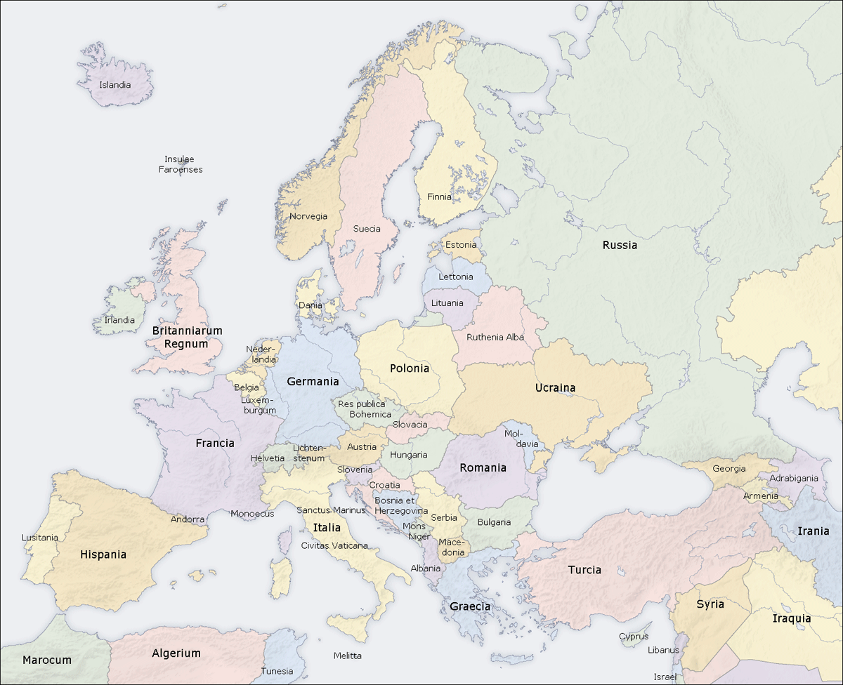 Map Of Europe Labeled With Countries