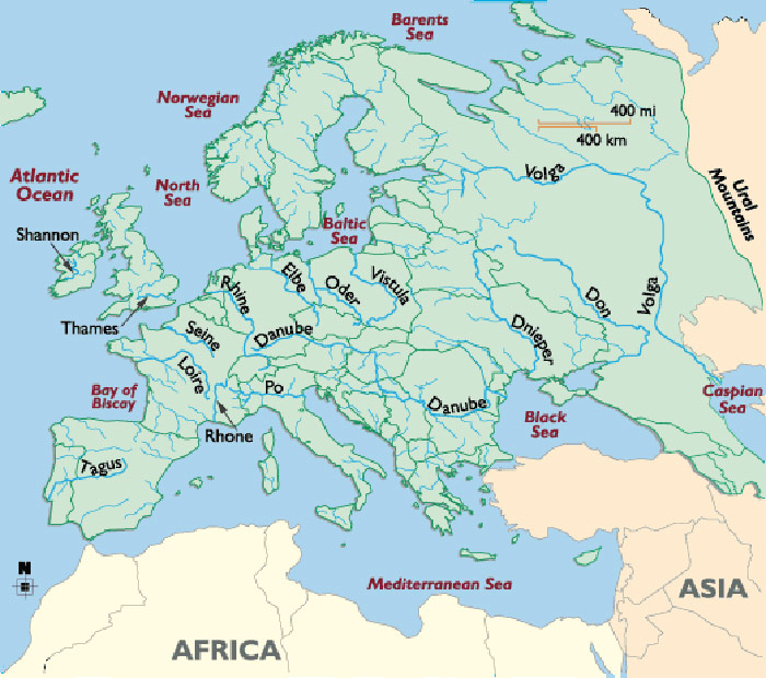 Europe Major Rivers Map large map