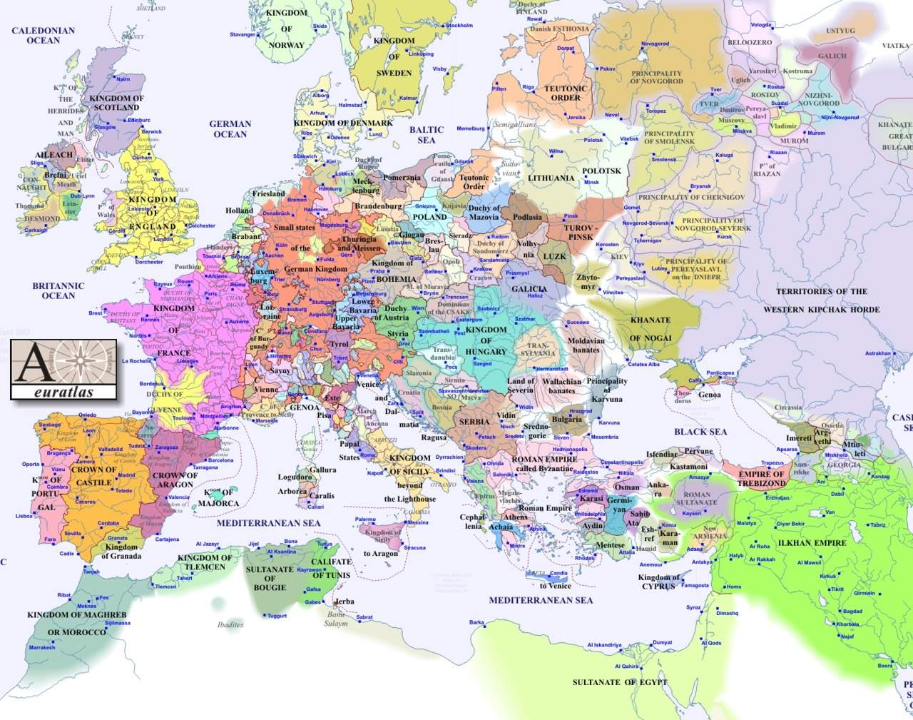 France On A Map Of Europe.Europe Map 1300 Mapsof Net