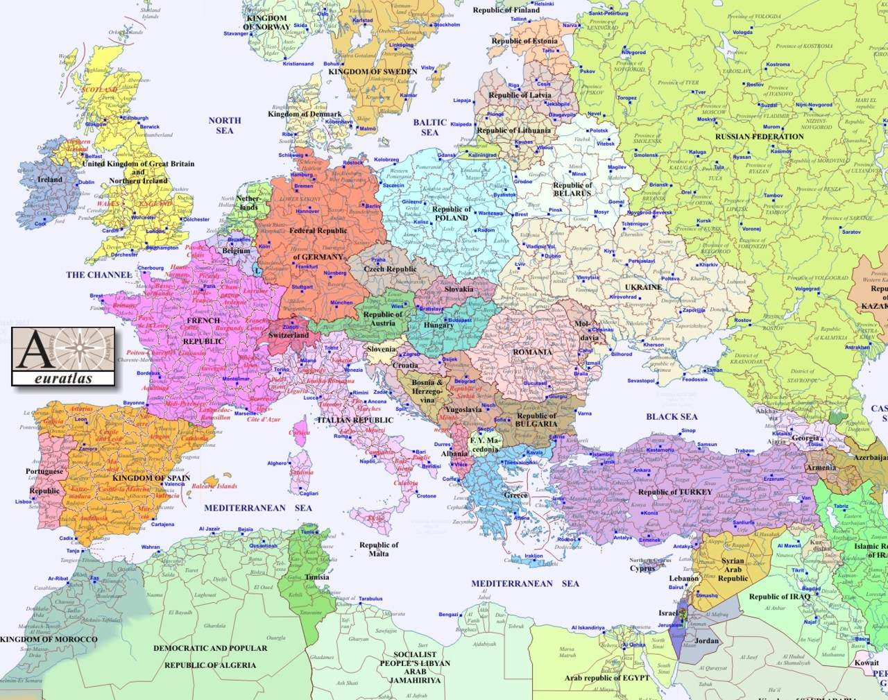 A Map Of Europe 2000