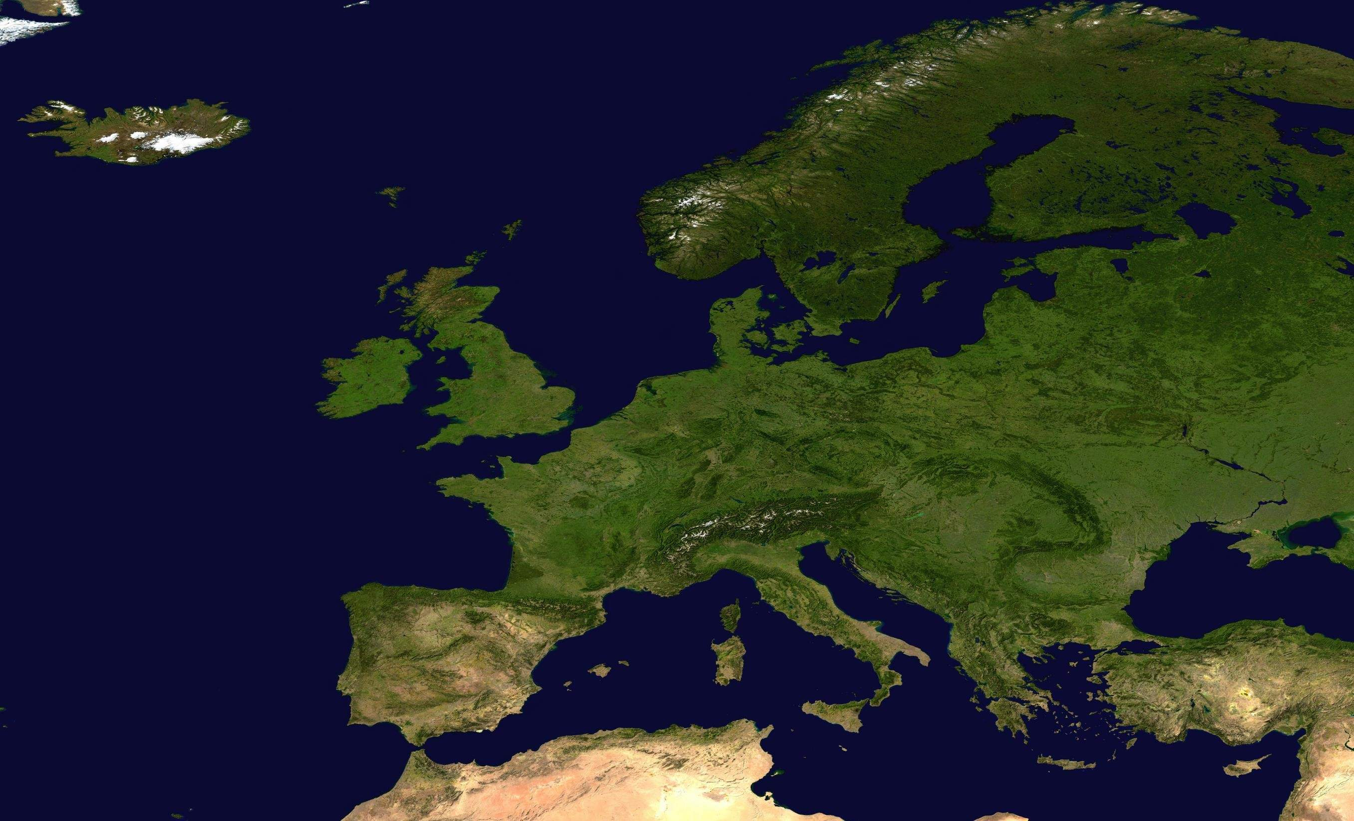 Europe Nasa Satellite Mapsofnet - Europe satellite map