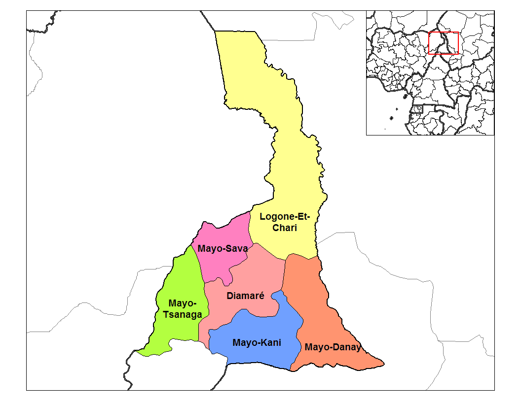 Far North Cameroon Divisions large map