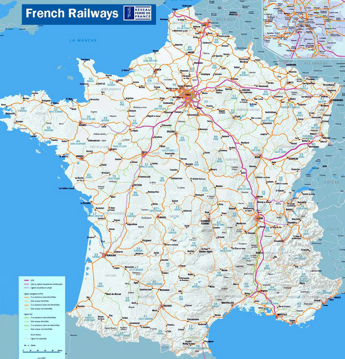 Fench Railways large map