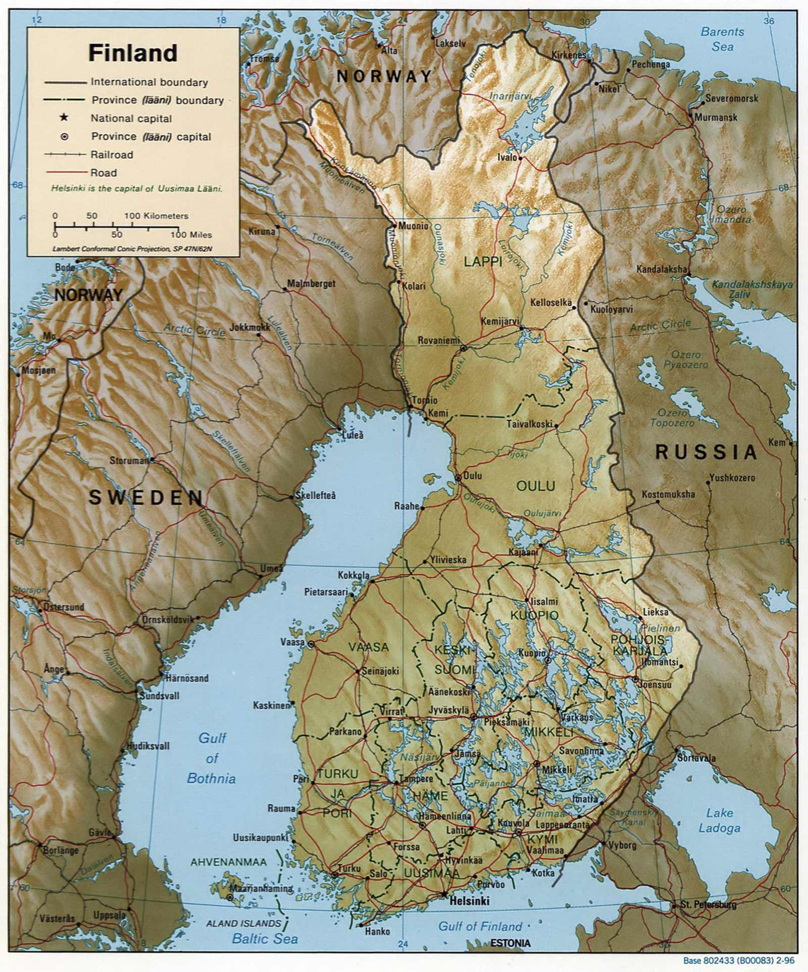 Finland 1996 Cia Map large map