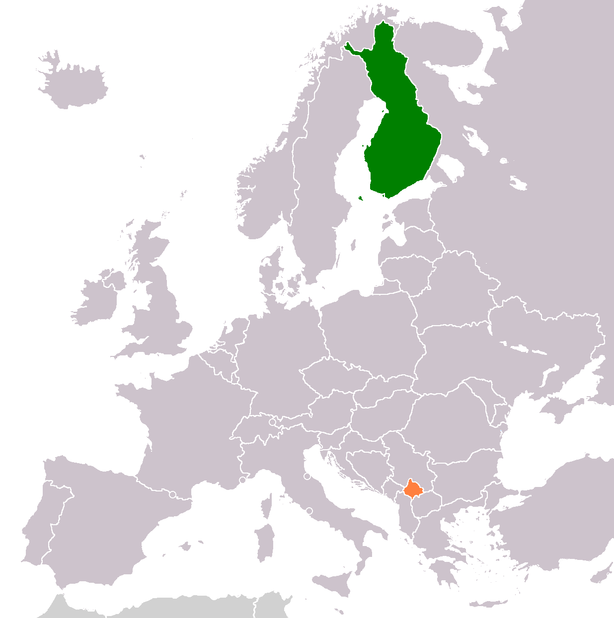 Finland Kosovo Locator 2 large map