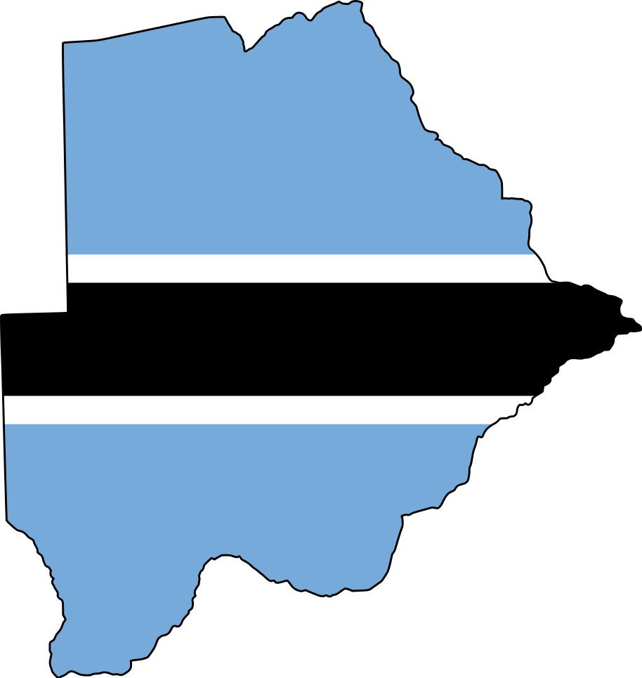 Flag Map of Botswana large map