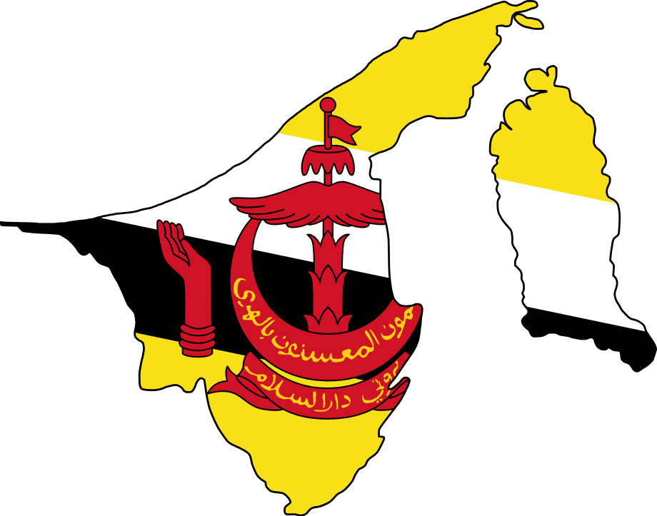 political map of brunei. Flag Map Of Brunei