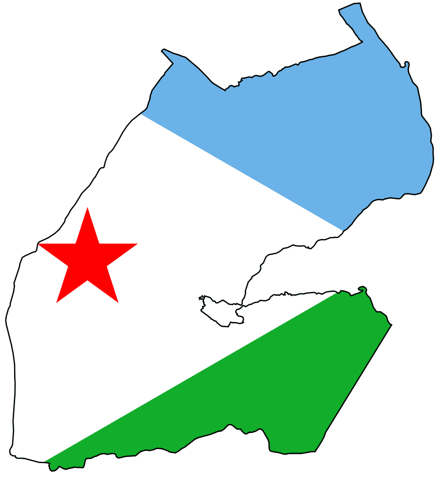 Flag Map of Djibouti large map
