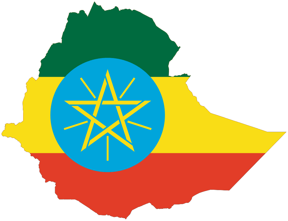 Flag Map of Ethiopia large map