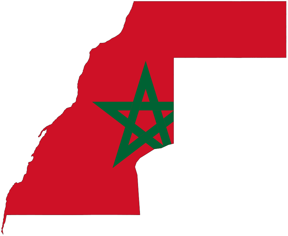 Flag Morocco Map of Western Sahara large map