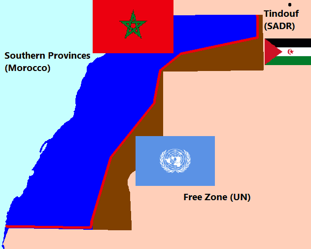Flags of the Regions In Western Sahara large map