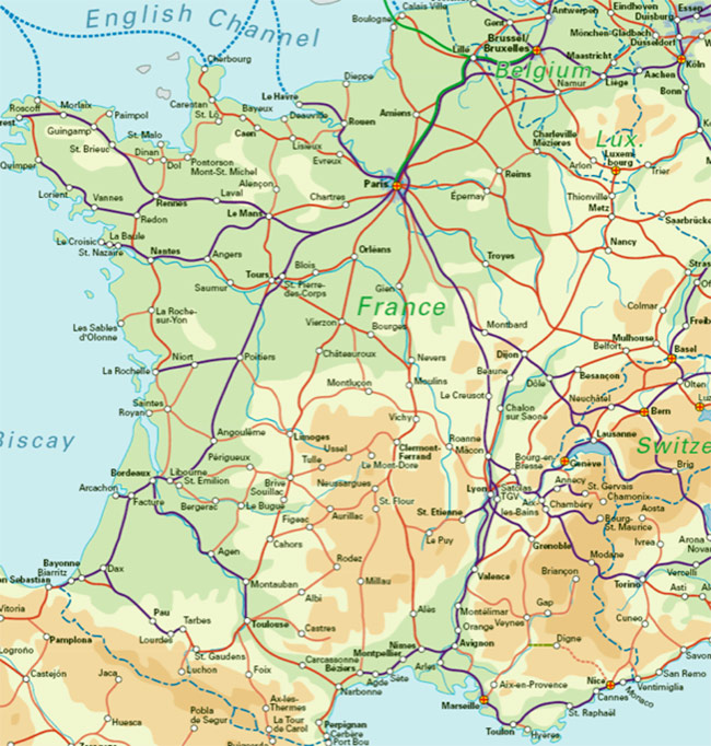 France Rail Map large map