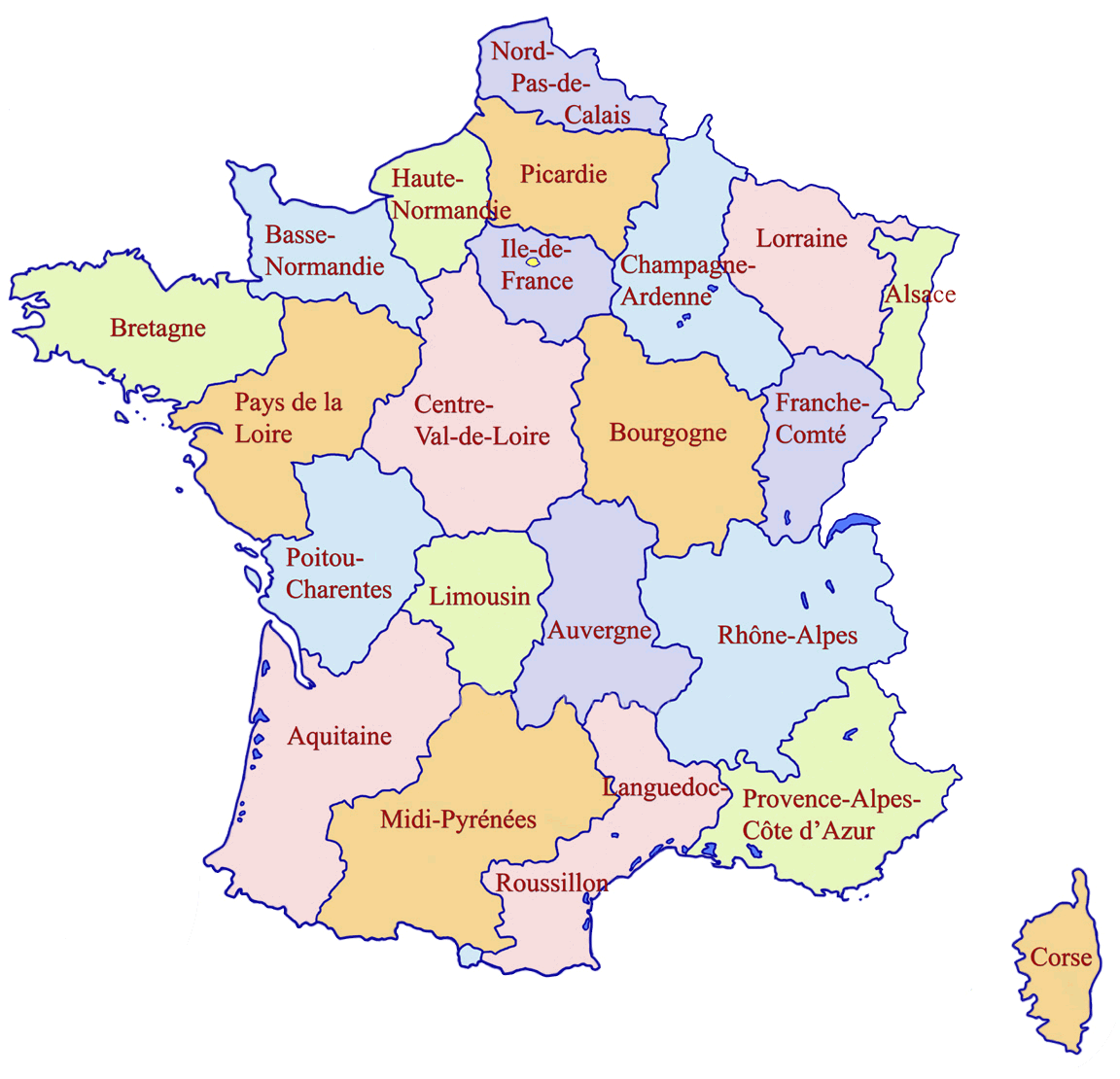Map Of France With Regions.France Regions Map Mapsof Net