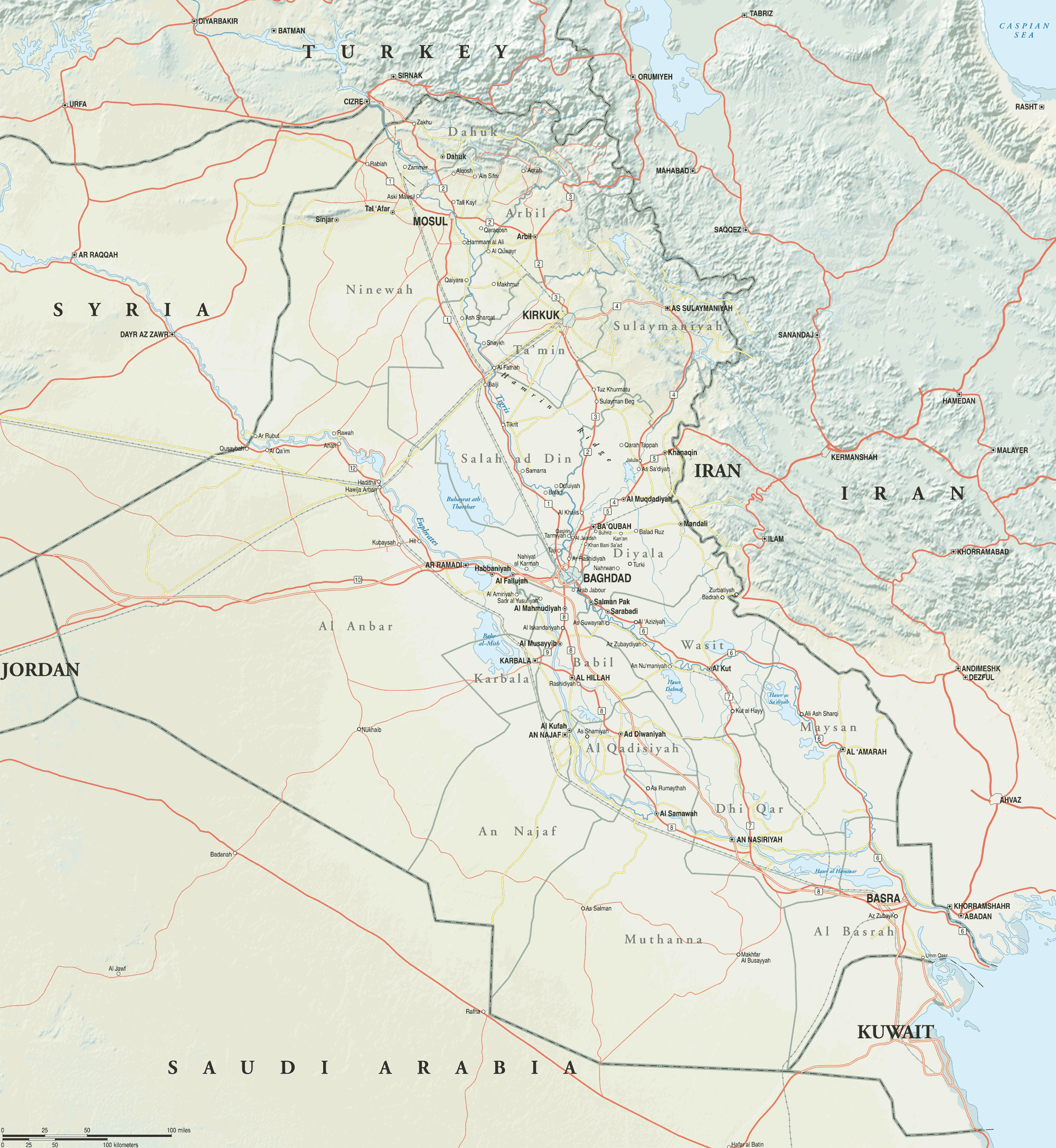 click on the full map of iraq