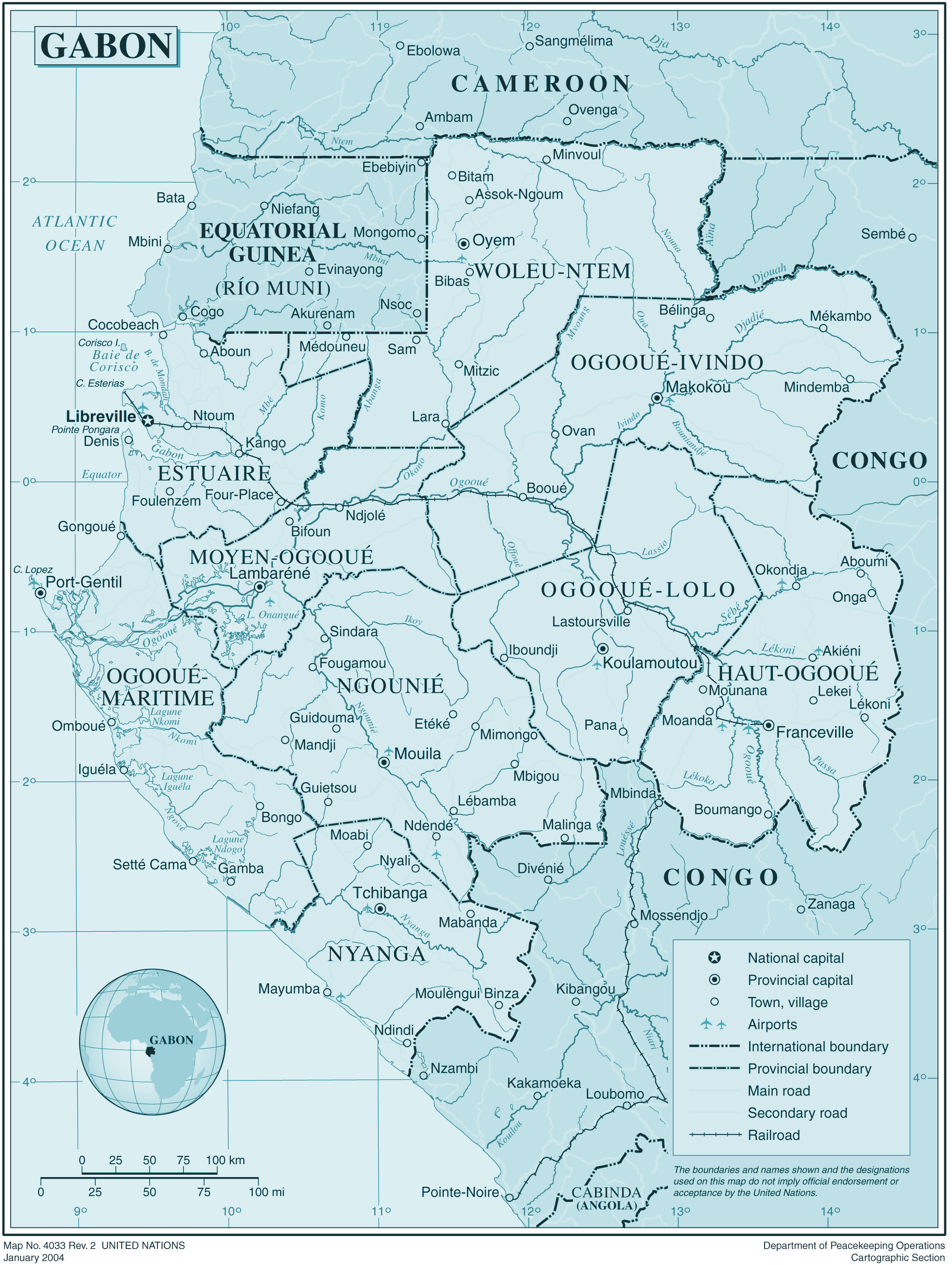 Gabon large map