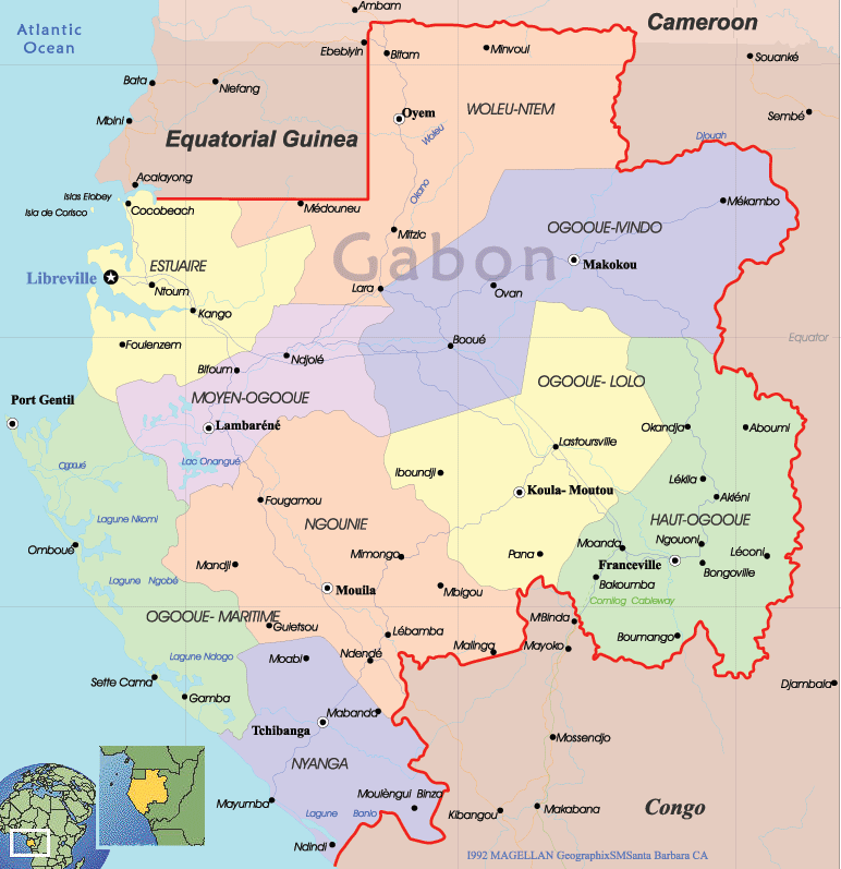 Gabon Political Map large map
