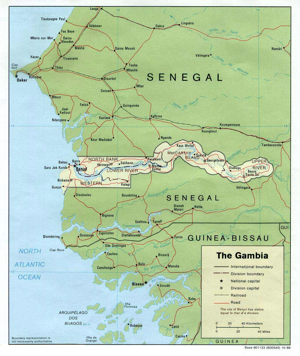 Gambia Political large map