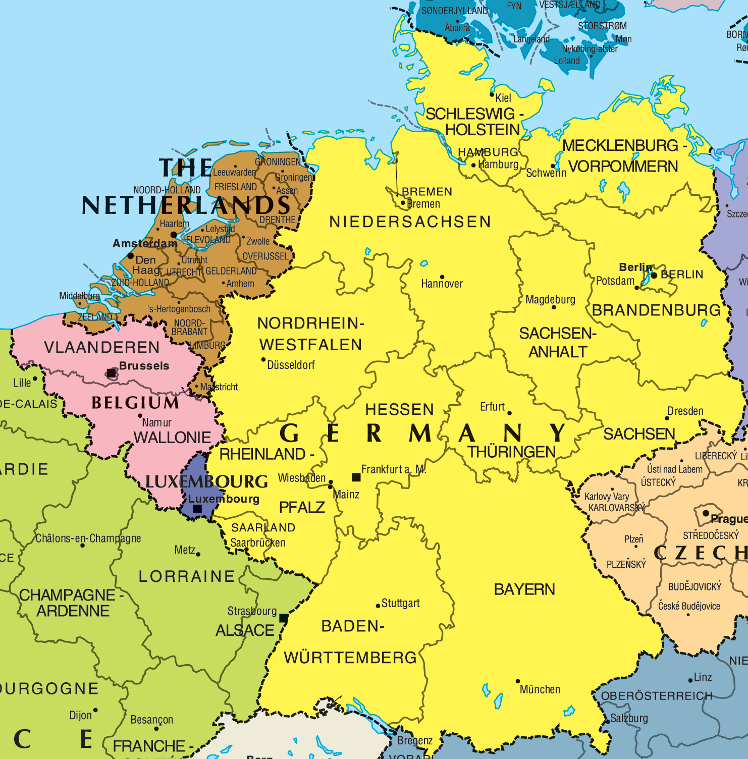 Germany And Belgium Map Mapsofnet
