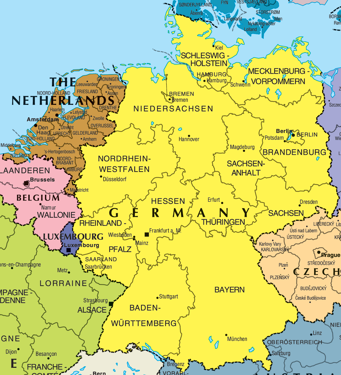 Germany And Netherlands Map large map