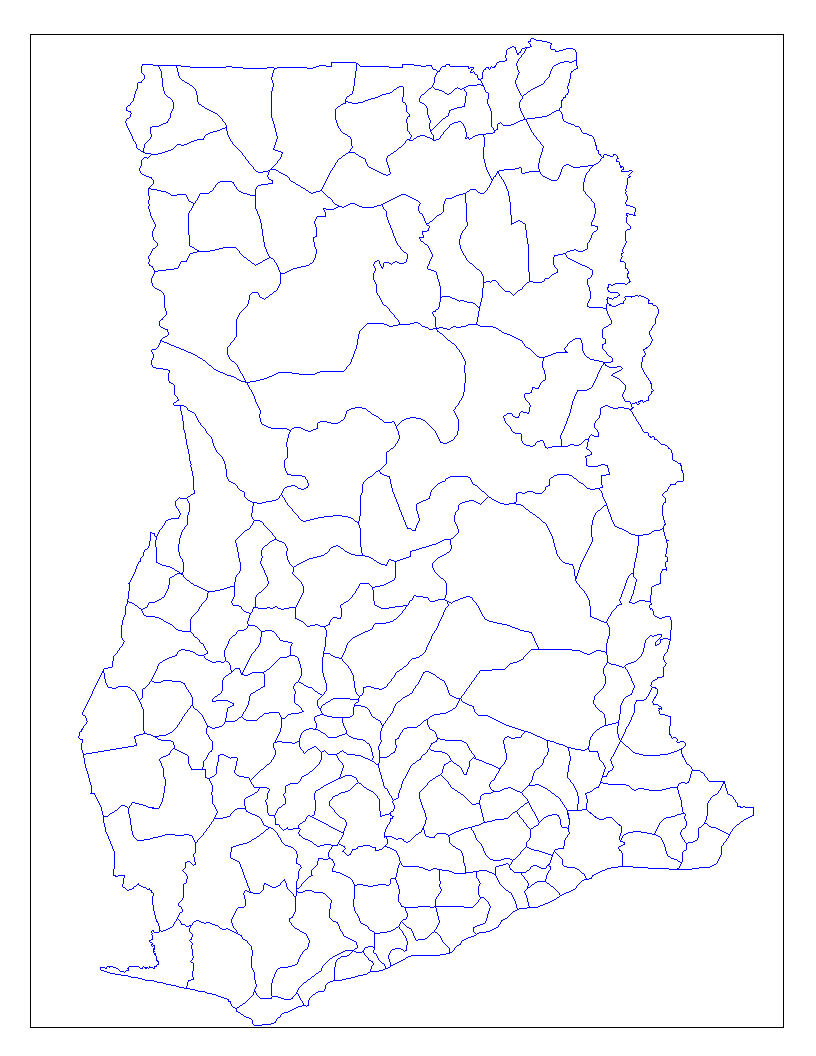 Ghana Districts large map