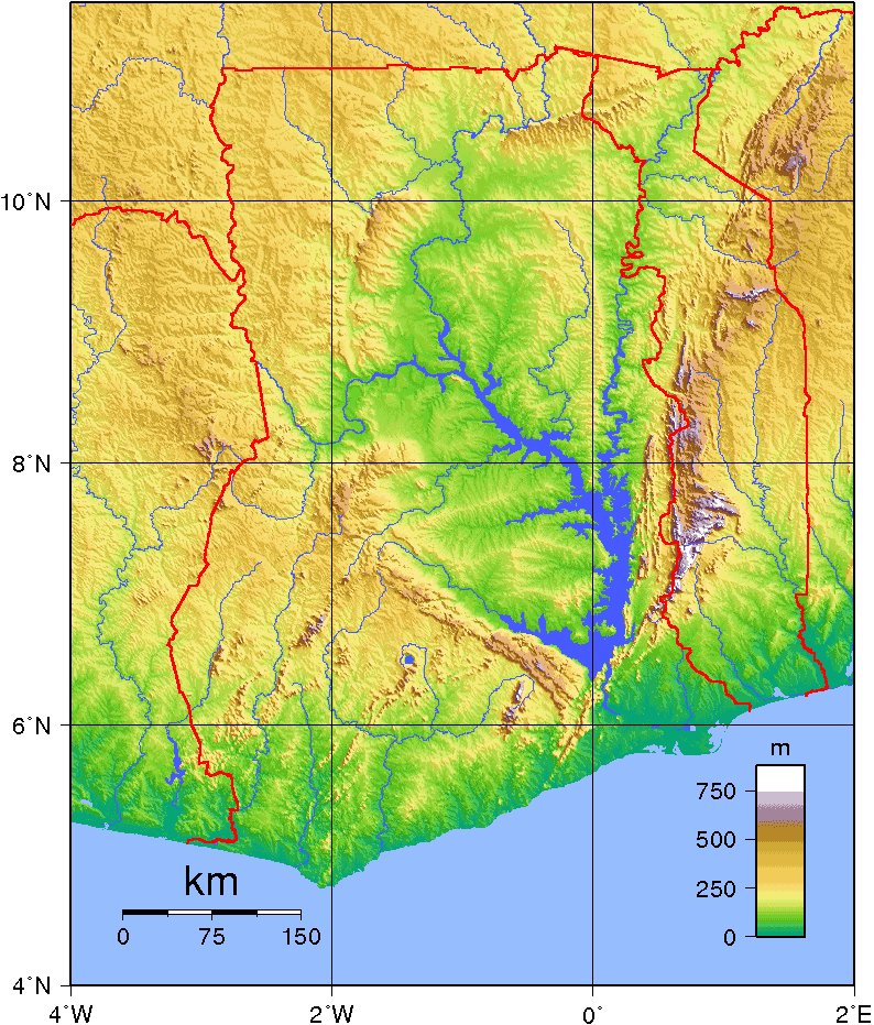 Ghana Topography large map