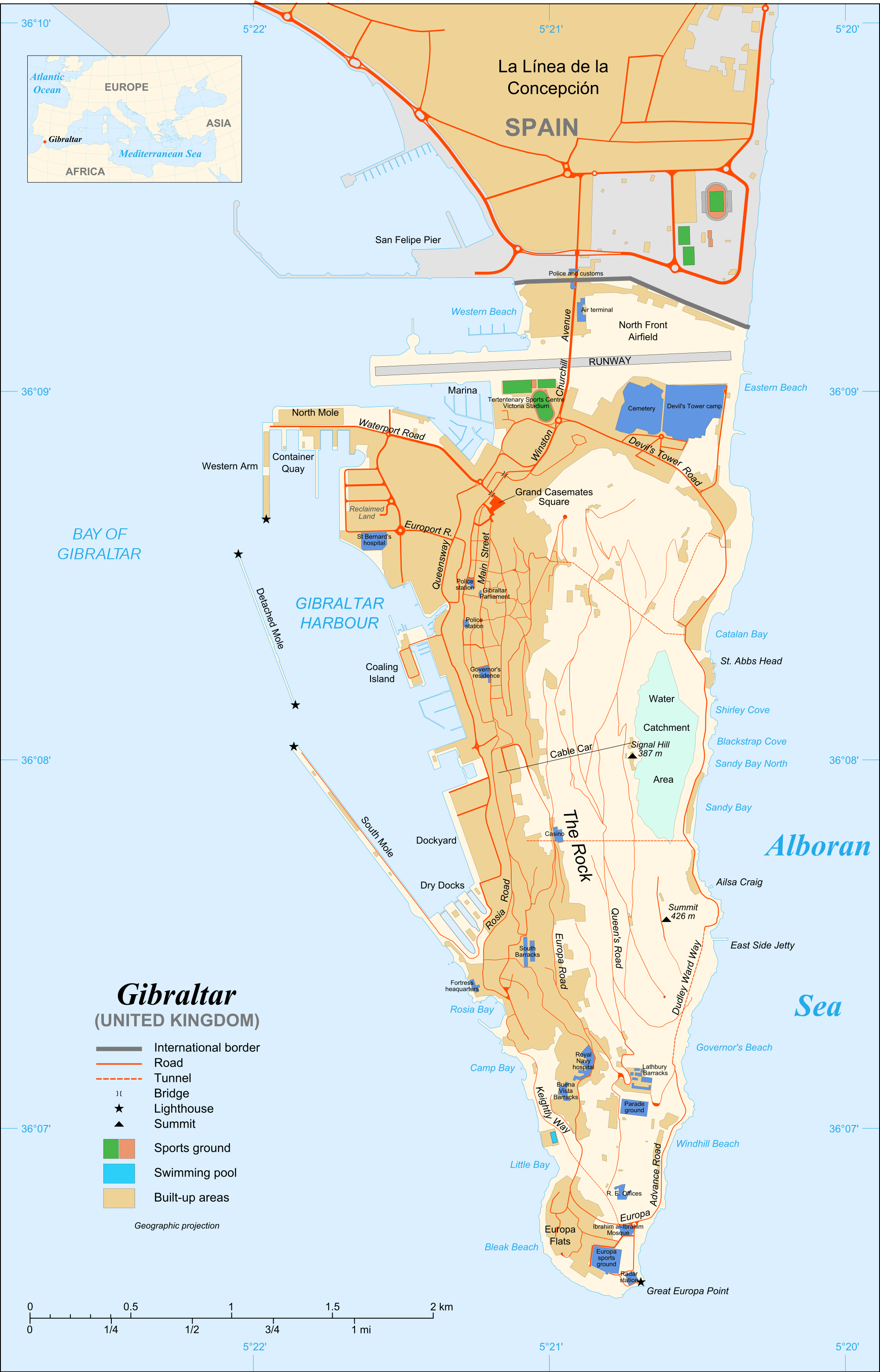 Gibraltar Map large map