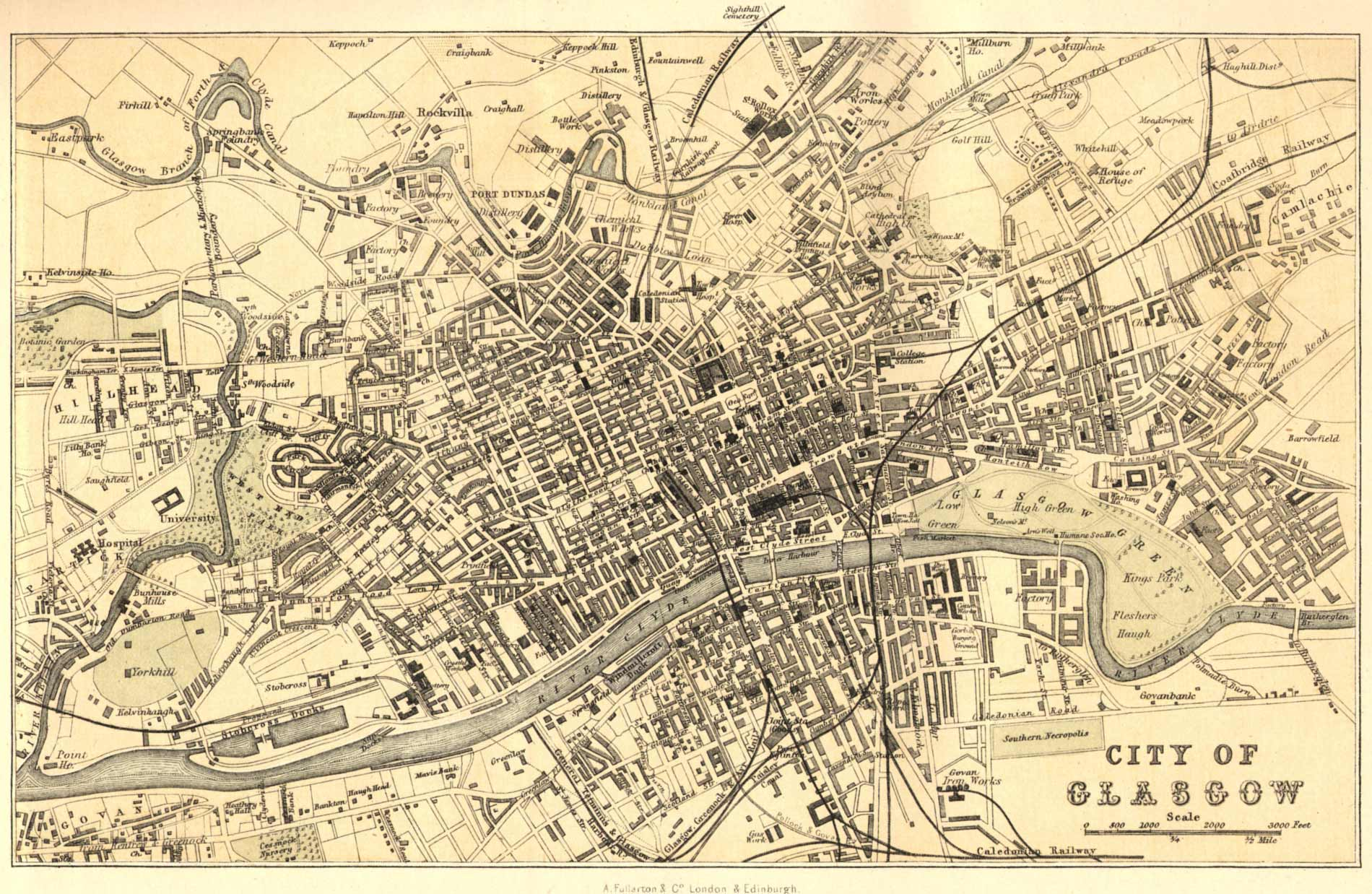 Glasgow Map 1878 large map