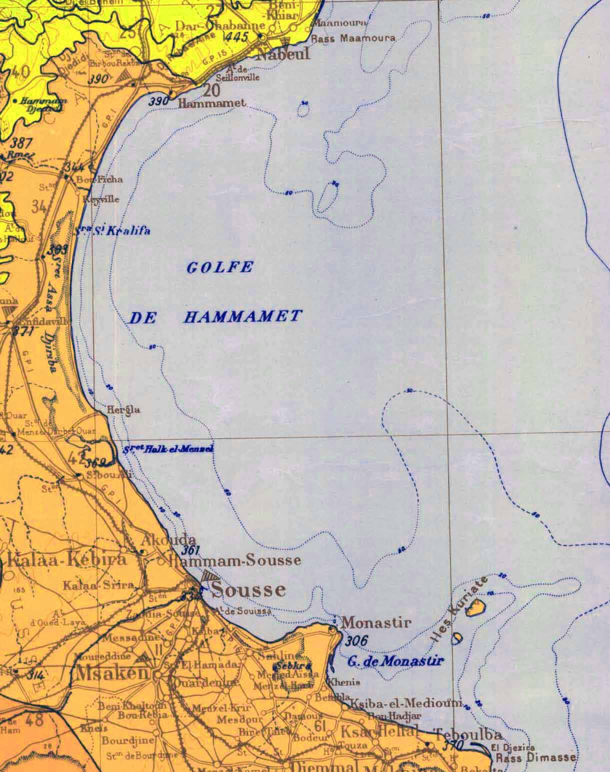 Golfe Hammamet Carte large map