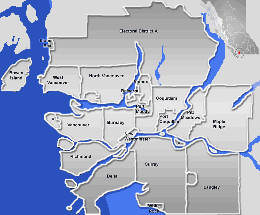 Greater Vancouver Area large map