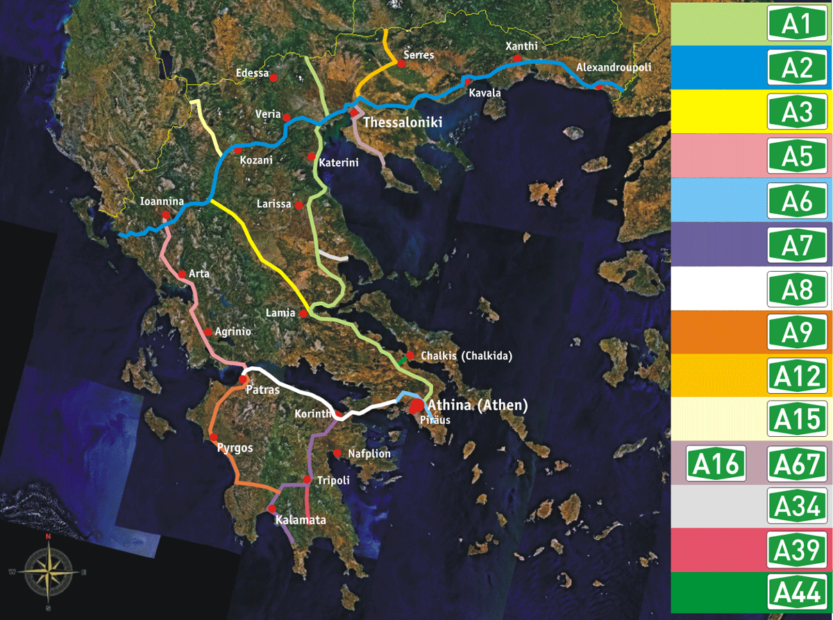 Greek Motorways Autobahnen Mainland Mapsof Net