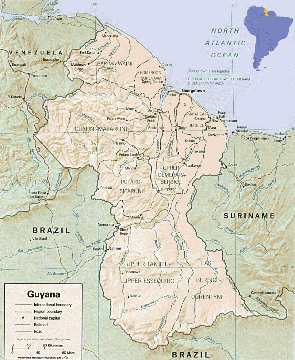 Guyana Physical Map Mapsofnet