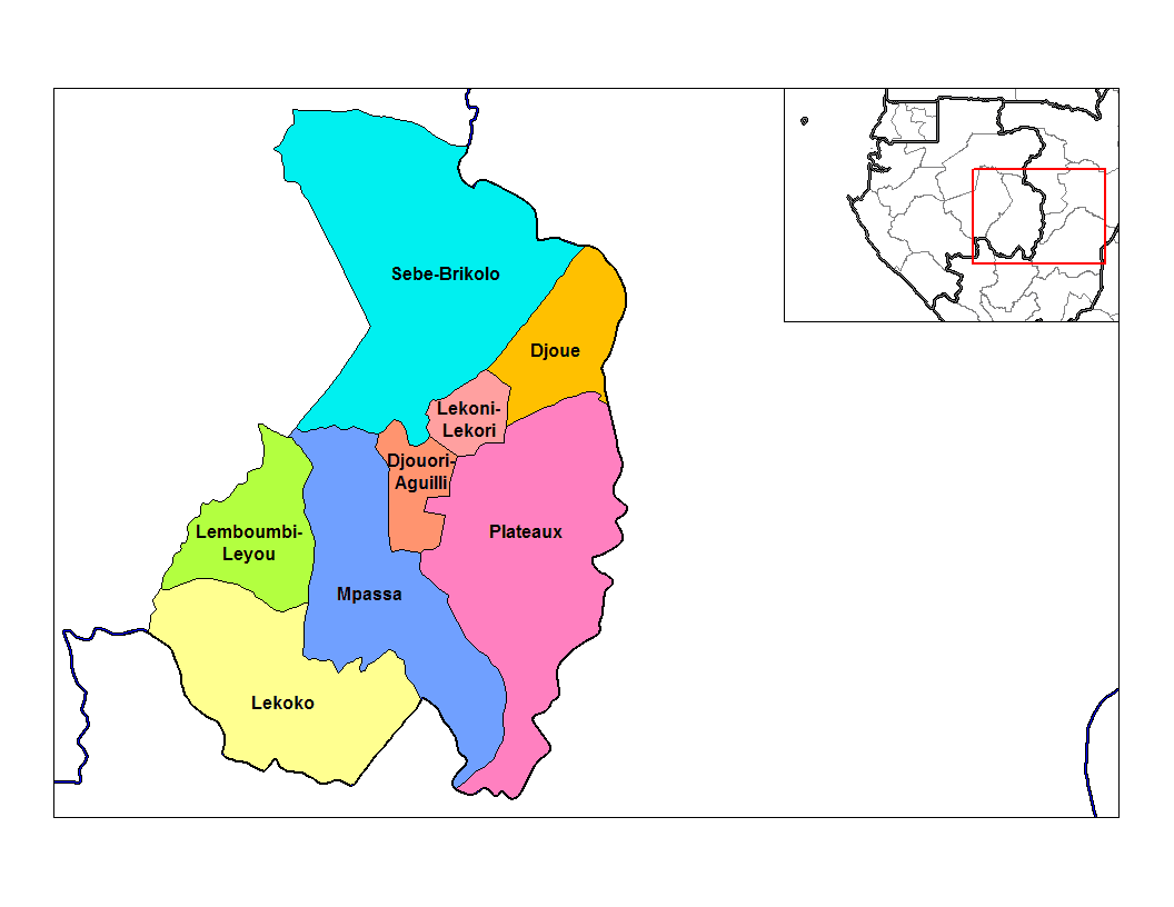Haut Ogooue Departments large map