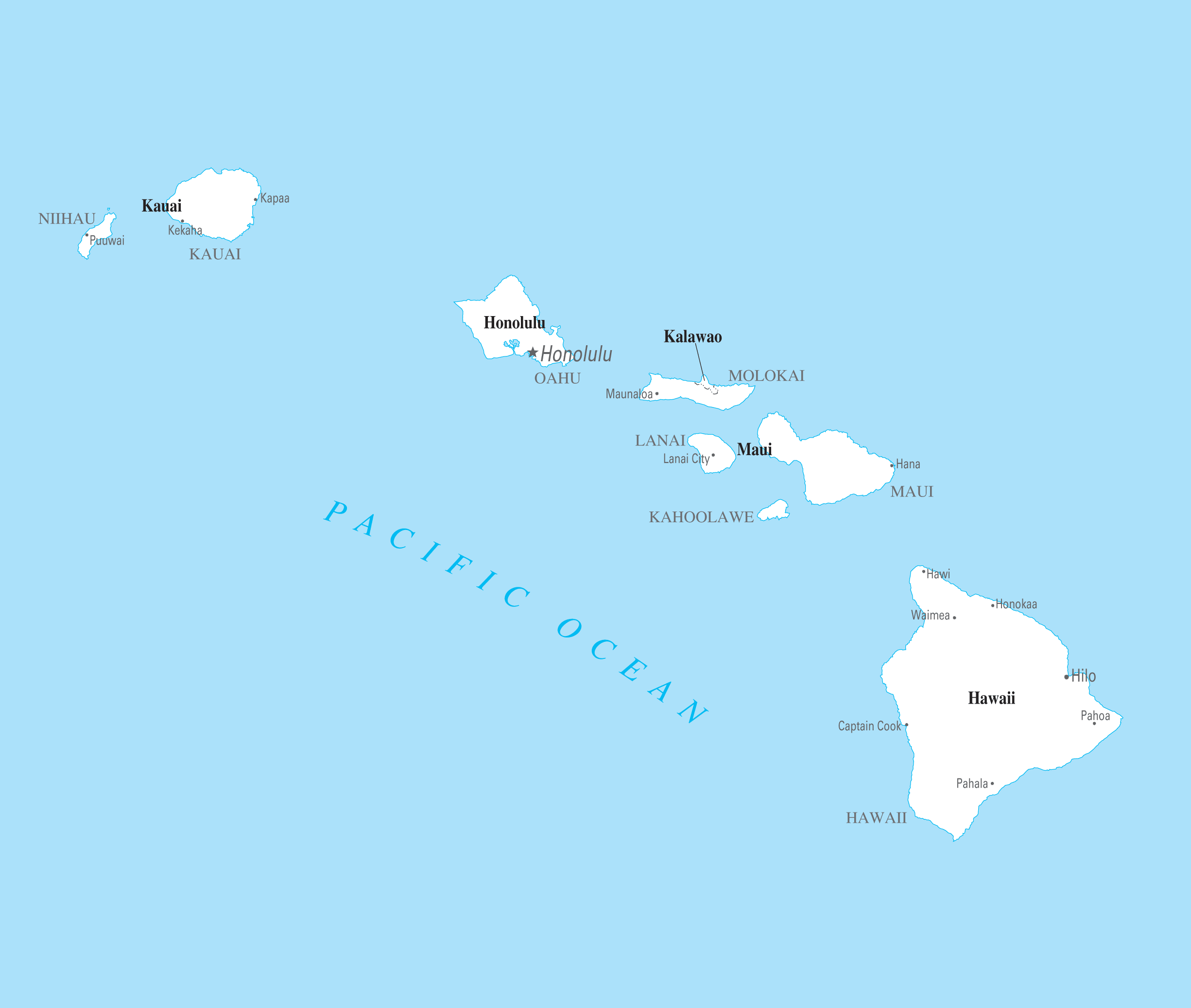 Hawaii Cities And Towns Mapsof Net