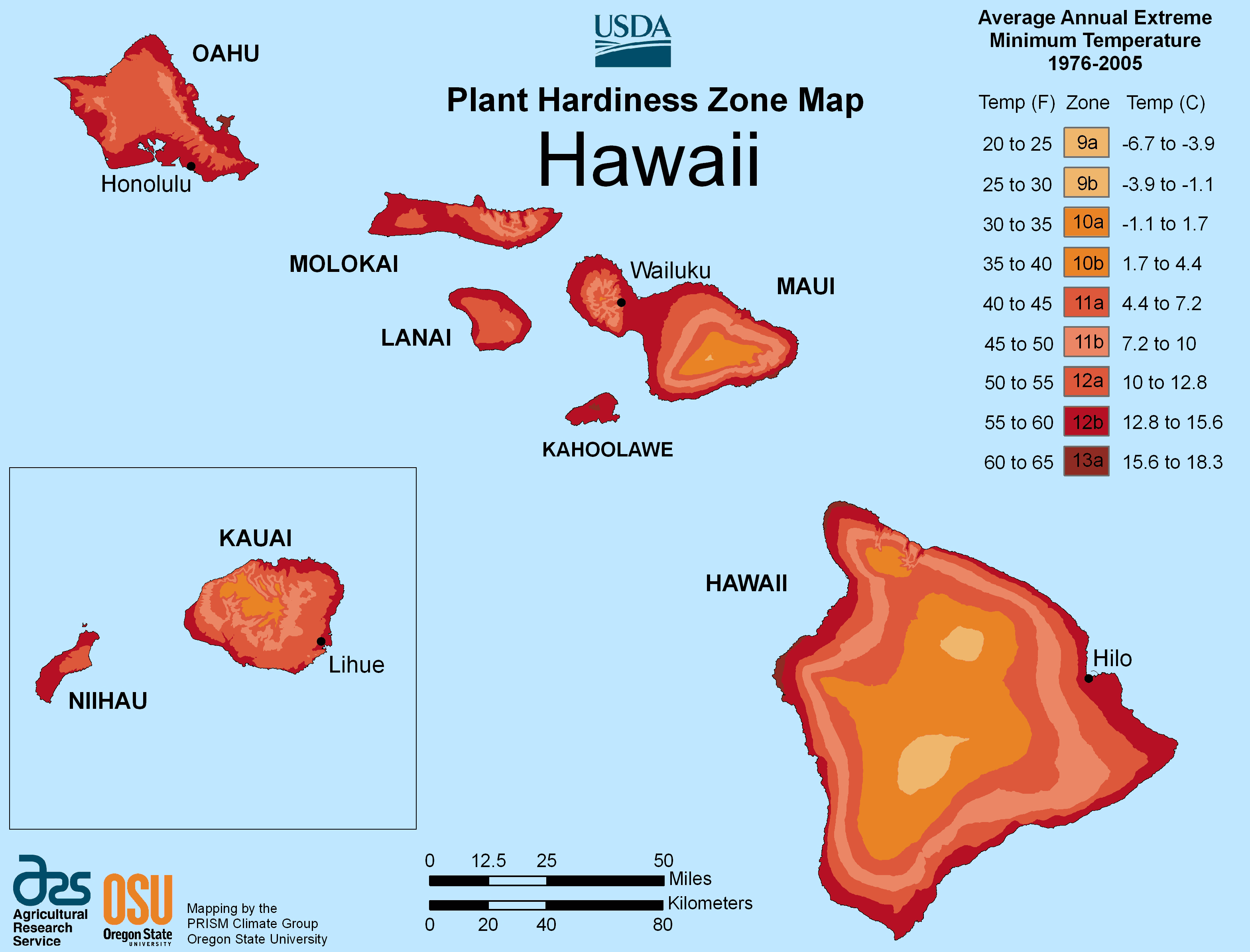 Hawaii Plant Hardiness Zone Map
