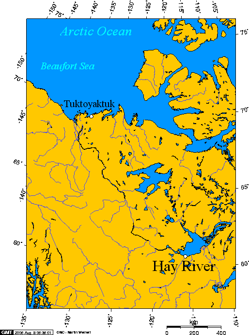 Hay river connection to the arctic ocean canada maps