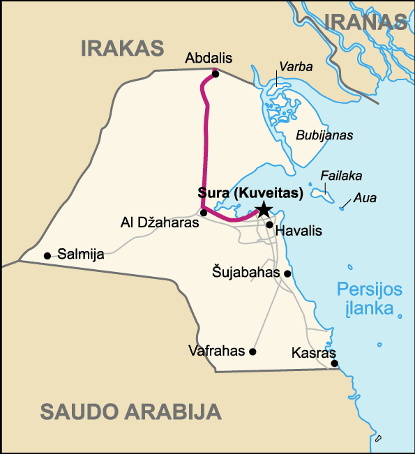 Highway of Death  Map of Kuwait (lithuanian) large map