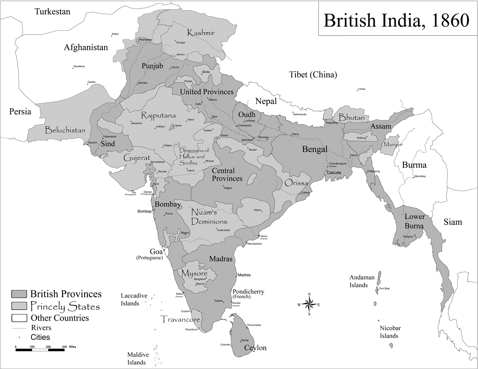 Historic Maps British India large map