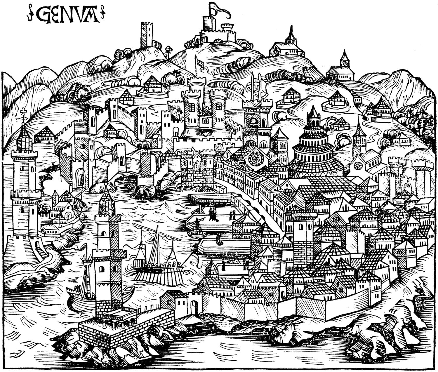 Historical Ancient Map of Genoa large map